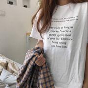 韓国風 新しいデザイン 丸襟 Tシャツのヘッジ 女 春夏 カレッジ風 レターズ プリント
