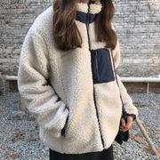 冬 手厚い 襟 + 子羊ウール コットンコート アウターウェア 女 韓国風 ルース 学生