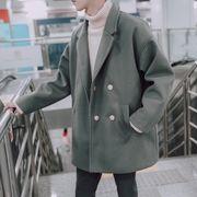 冬 ヨーロピアンスタイルの アンティーク調 ダブルブレスト ウールコート 男 韓国風 中