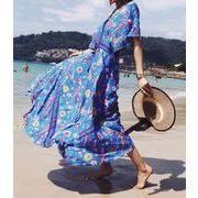 レディース 新作 Sale  ワンピース   OL ミドル 花柄 砂浜 海辺  ドレス