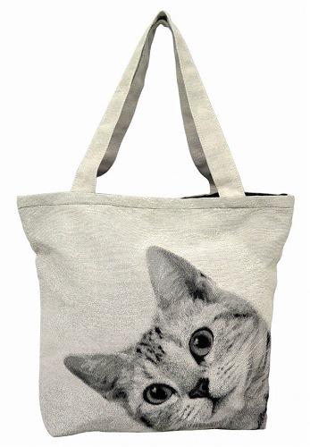 <AMANO>【ジャガード織りバッグ】【トートバッグ】BAG・ルックCAT ネコ柄