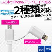 アイフォン 充電ケーブル ケーブル 2種類の端子が使えるマルチ充電・転送USBケーブル 1m(100cm)