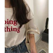 早春 レターズ プリント 丸襟 半袖Tシャツ 女 韓国風 ルース 原宿 学生 ボトムシャ