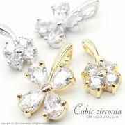 """★L&A original charm★Cubic zirconia★最高級鍍金★K16GP★クローバー♪132 """"Cubic clover"""""""