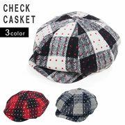 キャスケット 帽子 メンズ レディース ハンチング ツバ付き チェック ウール 混 キーズ Keys