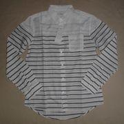 インド綿シャツ生地 シャンブレー&ボーダー切替 デザインシャツ