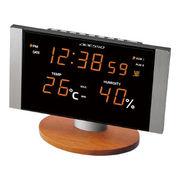 (インテリア・バラエティ雑貨)(デジタル時計)LED温湿度電波クロック C-8305OR