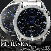 自動巻き腕時計 ATW019 黒文字盤に青色が映える デイデイト 日付カレンダー 機械式腕時計 メンズ腕時計