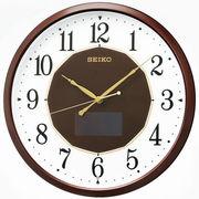 SEIKO セイコー 掛け時計 ハイブリッドソーラー 電波 アナログ 茶メタリック SF241B