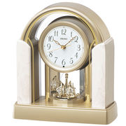 SEIKO セイコー 置き時計 電波 アナログ 回転飾り アイボリーマーブル模様 BY236G