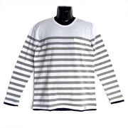 【2018SS新作】ポップコーン×天竺 編み変え ボーダー フェイクレイヤード Tシャツ