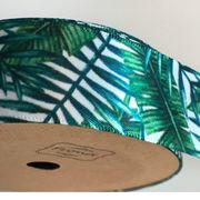 《即納》サテンリボン 25ミリ幅×9メートル 手芸用 柄 葉 緑 白 おしゃれ  ハンドメイド
