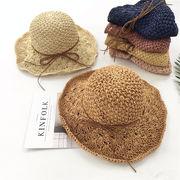 帽子 夏 レディース 麦わら帽子 細リボンナチュラルハット つば広ハット ペーパー手編みハット UVカット