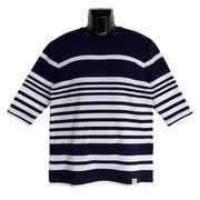 【2018SS新作】ポップコーン×天竺 編み変え ボーダー フェイクレイヤード 7分袖 Tシャツ