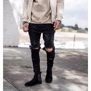 2018新作メンズジーンズ デニムファッション穴パンツ 大きいサイズカジュアル♪ブルー/ブラック2色