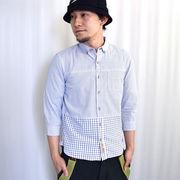 【値下げ】ウィンドペン チェック クレイジー切替 ボタンダウン 7分袖シャツ【割引併用不可】