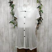 【アウトレット価格】透け感ジョーゼット素材 プリーツ加工 フレンチスリーブシャツ