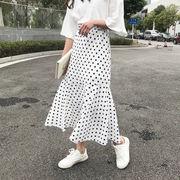 春 女性服 新しいデザイン 韓国風 ファッション ポルカドット プリント ハイウエスト