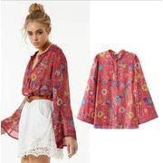 レディースシャツ 花柄 長袖 綺麗 ファッション デザイン