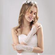 新しい 結婚式 花嫁 ウェディングドレス 手袋 尖 花 結婚式 レース手袋