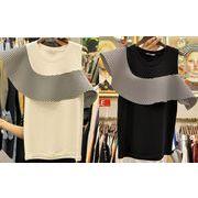 半袖Tシャツ フリル 切り替え 肩出し アシンメトリー ボーダー柄 着まわし ファッション 全2色 #201336