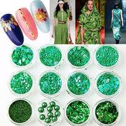 12個セット 緑系 ホログラム Pパール ラメ 乱切り ネイル用品 レジン封入パーツ 埋込み ネイルアート 手芸