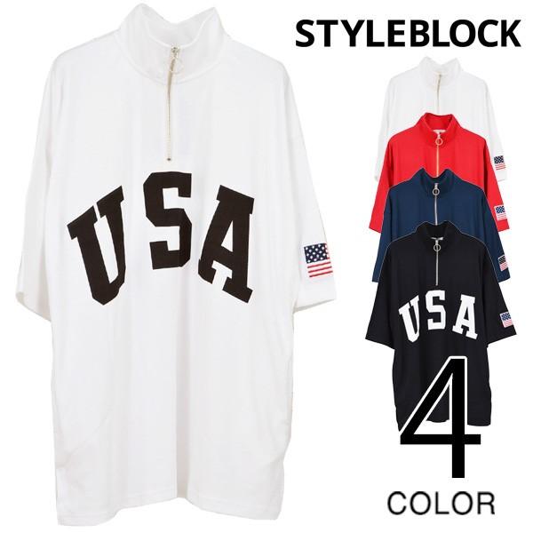 BIGハーフZIPスタンドTシャツ/sb-275704