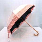 【晴雨兼用】【長傘】かわず張りUVカットフラワー柄晴雨兼用手開傘
