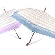 [65cm]婦人用大きい傘 ジャンプ傘 レディース ボーダー柄