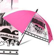 [55cm]傘 キッズ 子供用 女の子 2コマ透明窓付き ジャンプ傘