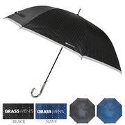 [70cm]傘 紳士 メンズ ジャンプ傘 ストライプ ワンポイントロゴ入り