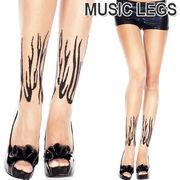 MusicLegs(ミュージックレッグス)ファイヤー柄シアータトゥーストッキング ML7223 tattoo