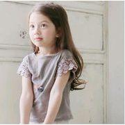 【裾デザイン変更】子供 Tシャツ キッズ ブラウス  トップス ファション シンプル 女の子