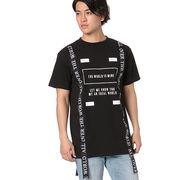 【2018春夏新作】20/-OE天竺 半袖 テープ使い Tシャツ(WORLD IS)
