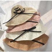 レディース麦わら帽子 4色 折り畳め リボン 夏定番 ハット UV対策 日よけ オシャレ
