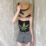 夏 女性服 新しいデザイン 韓国風 着やせ プリント ボトム ホルタートップ 何でも似合