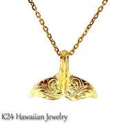 ハワイアンジュエリー K24 純金 コーティング k24 ペンダント ネックレス  プルメリア