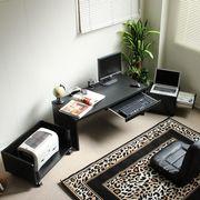 ロータイプデスク3点セットスライドテーブル 90cm幅  LOD-390-BK