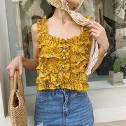 夏 女性服 新しいデザイン アンティーク調 フレッシュ キクラゲなようなエッジ シフォン