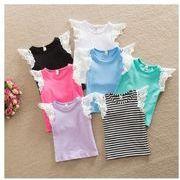 大人気女の子Tシャツ レース肩 フライスリーブ ノースリーブ キッズ ベビー 子供服 全7色