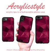 iPhone 7 8 X ケース 幾何学模様 宝石 赤紫