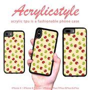 iPhone 7 8 X ケース フルーツ りんご 林檎 リンゴ 青 赤 かわいい