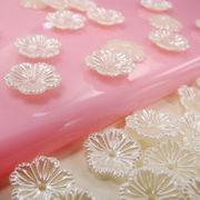 10個 パール デコパーツ 穴有り ビーズ フラワー お花 オフホワイト カラフル ヘアアクセ ブローチ 手芸