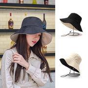小顔効果抜群!オシャレな UVハット リバーシブル帽子 大きいサイズ 日よけ 折りたたみ つば広 紐付き