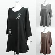 【秋物】レディース シャツ ゆったりサイズ ねこ柄 七分袖 Tシャツ