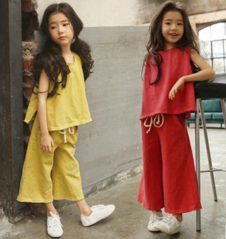 夏 子供服 トップス+ワイドパンツ 女の子 セットアップ 2点セット カジュアル 4色