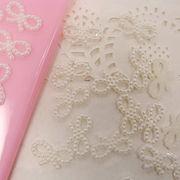 10個 パール デコパーツ かわいい ribbon リボン オフホワイト カラフル ヘアアクセ ブローチ 手芸