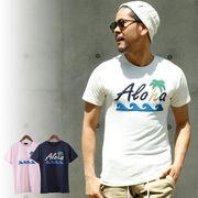 【2018SS新作】 メンズ サガラ刺繍 アロハ柄 Tシャツ