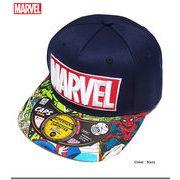 ★ボリュームのあるMARVELロゴ刺繍&スパイダーマンやキャプテンアメリカの総柄プリントストリートキャップ