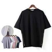 【2018SS新作】 メンズ サイドZIP 綿ポンチ Tシャツ